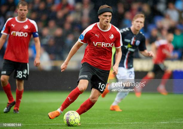 Mikkel Kallesoe of Randers FC controls the ball during the Danish Superliga match between Randers FC and AGF Arhus at BioNutria Park Randers on...