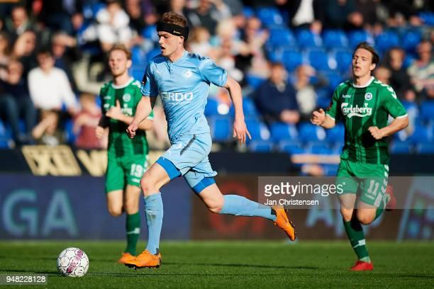 Mikkel Kallesoe of Randers FC in action during the Danish Alka Superliga match between Randers FC and OB Odense at BioNutria Park Randers on April 18...