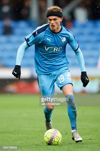 Mikkel Kallesoe of Randers FC in action during the Danish Superliga match between Randers FC and Esbjerg fB at BioNutria Park Randers on October 28...