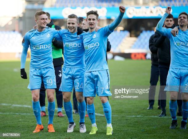 Mikkel Kallesoe of Randers FC Jonas Bager of Randers FC and Andreas Bruhn of Randers FC celebrate after the Danish Alka Superliga match between...