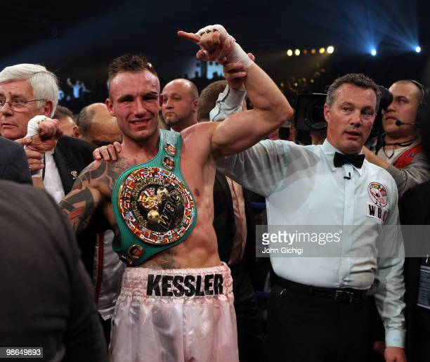 Mikkel Kessler of Denmark celebrates being declared winner in his fight against Carl Froch of England after their Super Six WBC Super Middleweight...