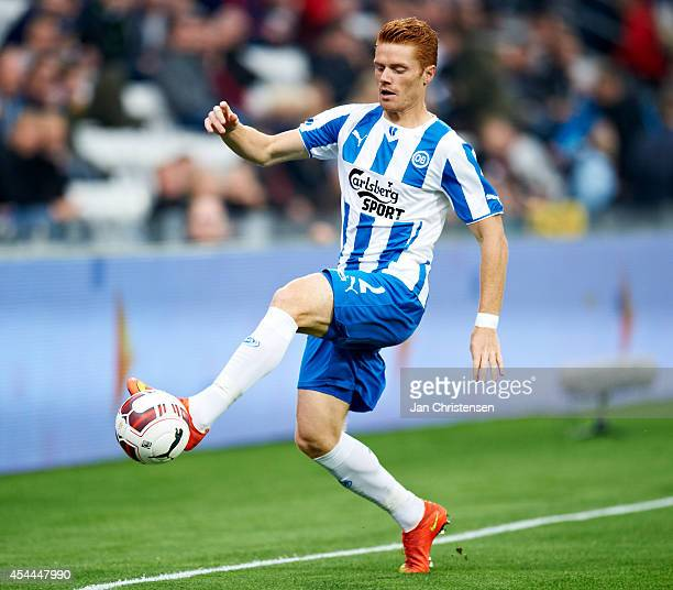 Mikkel Kirkeskov of OB Odense controls the ball during the Danish Superliga match between OB Odense and FC Copenhagen at TREFOR Park on August 31...