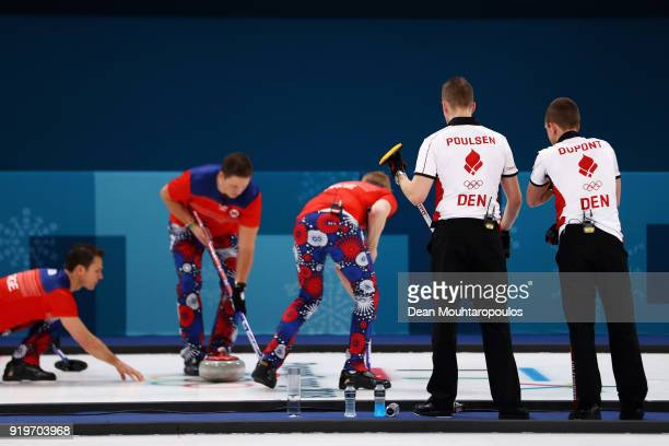 Mikkel Poulsen and Oliver Dupont of Denmark watch Havard Vad Petersson Christoffer Svae Thomas Ulsrud and Torger Nergaard of Norway compete during...