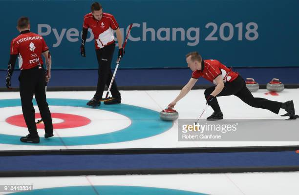 Mikkel Poulsen of Denmark delivers a stone during the Curling Men's Round Robin Session 3 held at Gangneung Curling Centre on February 15 2018 in...