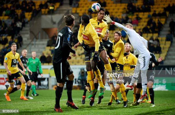 Mikkel Qvist of AC Horsens and Goalkeeper Jesse Joronen of AC Horsens $qc$ the Danish Alka Superliga match between AC Horsens and Randers FC at CASA...