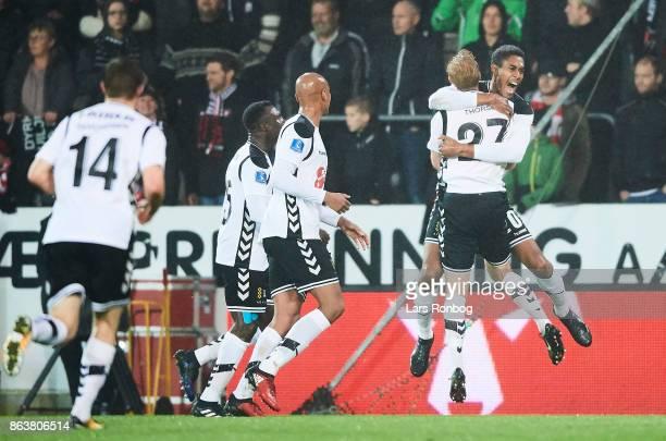 Mikkel Qvist of AC Horsens and Jonas Thorsen of AC Horsens celebrate after scoring their first goal during the Danish Alka Superliga match between FC...