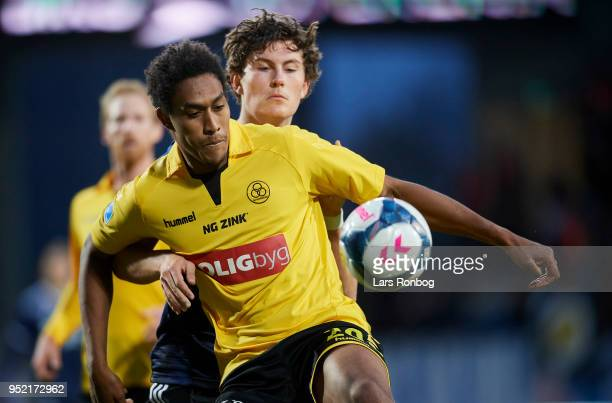 Mikkel Qvist of AC Horsens and Jonas Wind of FC Copenhagen compete for the ball during the Danish Alka Superliga match between AC Horsens and FC...