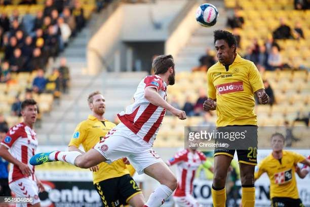 Mikkel Qvist of AC Horsens heading the ball during the Danish Alka Superliga match between AC Horsens and AaB Aalborg at Casa Arena Horsens on May 04...