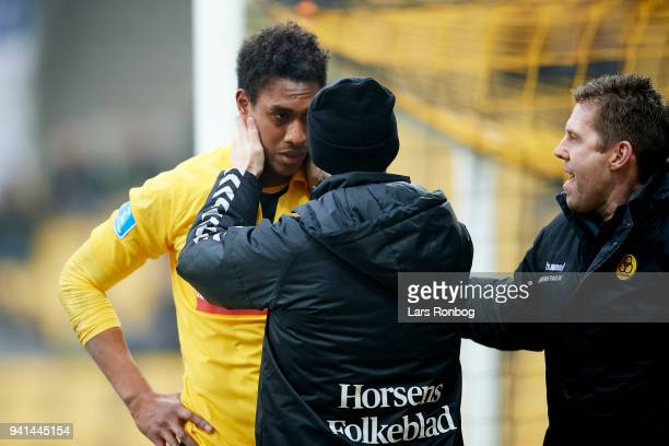 Mikkel Qvist of AC Horsens with a head injury during the Danish Alka Superliga match between AC Horsens and FC Midtjylland at CASA Arena Horsenas on...