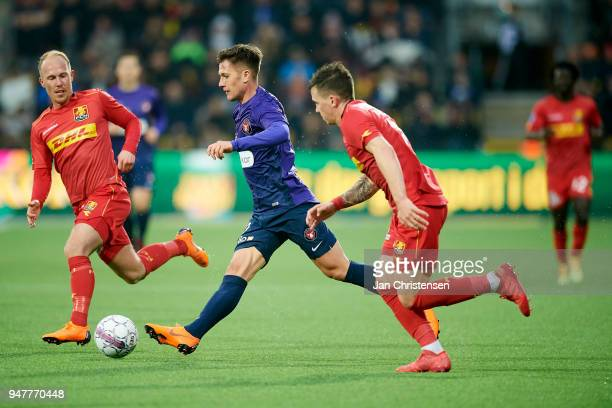 Mikkel Rygaard of FC Nordsjalland and Mikkel Duelund of FC Midtjylland in action during the Danish Alka Superliga match between FC Nordsjalland and...