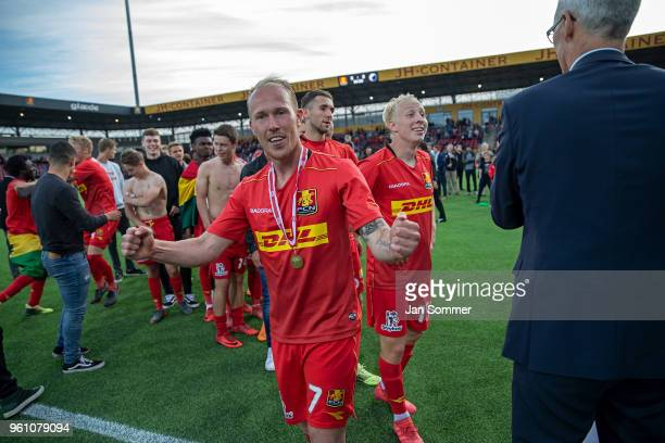 Mikkel Rygaard of FC Nordsjalland celebrates the bronzemedal in the Danish Alka Superliga match between FC Nordsjalland and FC Copenhagen at Right to...