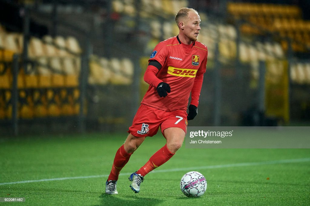 Mikkel Rygaard of FC Nordsjalland controls the ball during the Danish Alka Superliga match between FC Nordsjalland and OB Odense at Right to Dream Park on February 16, 2018 in Farum, Denmark.