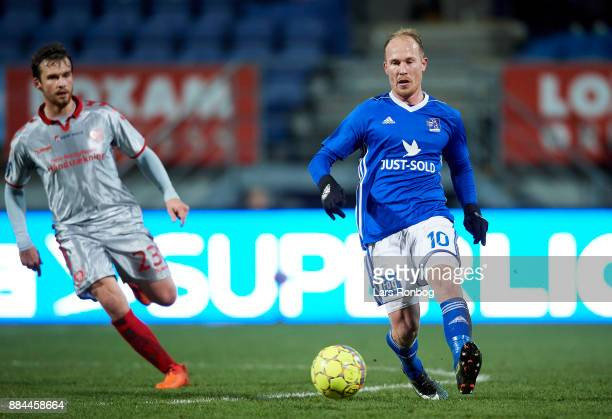 Mikkel Rygaard of Lyngby BK controls the ball during the Danish Alka Superliga match between Lyngby BK and AaB Aalborg at Lyngby Stadion on December...