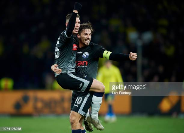 Mikkel Wohlgemuth and Alexander Juel Andersen of Vendsyssel FF celebrate after the Danish Superliga match between Brondby IF and Vendsyssel FF at...