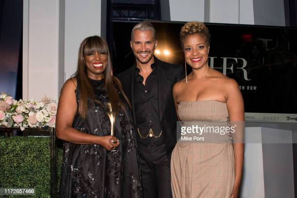 Mikki Taylor, Jay Manuel, and Brandice Henderson attends Harlem Fashion Row at One World Trade Center on September 05, 2019 in New York City.