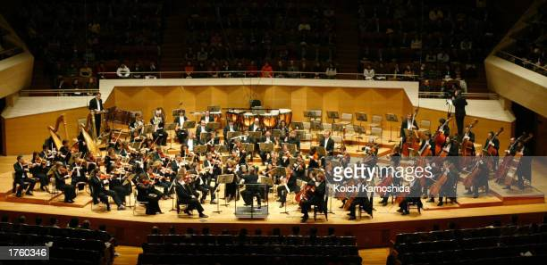 Mikko Franck conducts the National Orchestra of Belgium at Suntory Hall during Belgian Prince Laurent's visit February 4, 2003 in Tokyo, Japan.