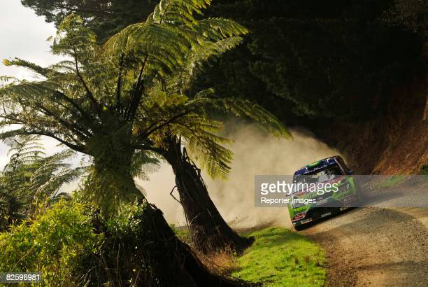 Mikko Hirvonen and codriver Jarmo Lethinan of Finland in action in their Ford Focus RS WRC 07 during Special Stage3 Pirongia West held at Ngutunui...