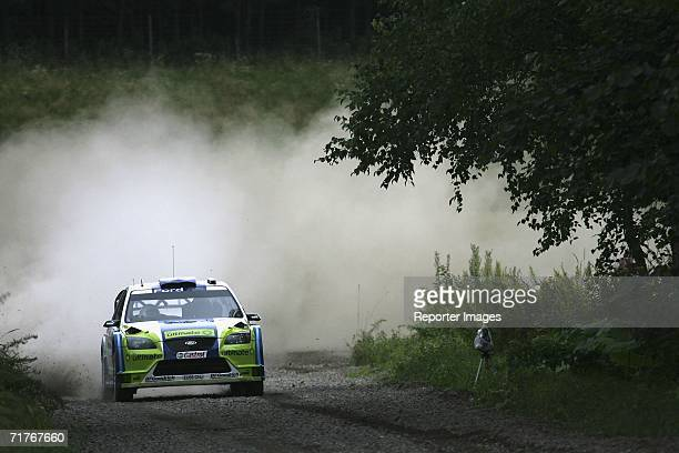 Mikko Hirvonen and Jarmo Lehtinen of Finland compete in the Ford Focus RS during Leg One of the 2006 Rally Japan on September 1 2006 in Hokkaido Japan