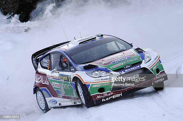 Mikko Hirvonen of Finland and Jarmo Lehtinen of Finland compete in their Ford Abu Dhabi World Rally Team Ford Fiesta RS WRC during Leg1 of the WRC...