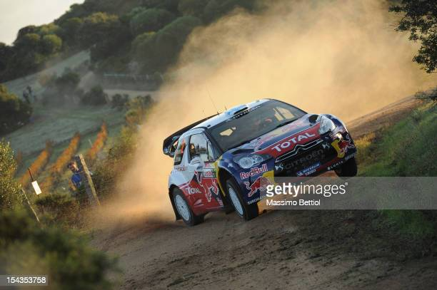 Mikko Hirvonen of Finland and Jarmo Lehtinen of Finland compete in their Citroen Total WRT Citroen DS3 WRC during the Shakedown of the WRC Italy on...