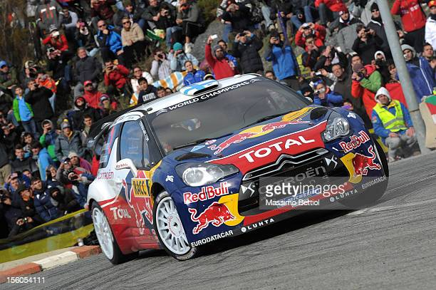 Mikko Hirvonen of Finland and Jarmo Lehtinen of Finland compete in their Citroen Total WRT Citroen DS3 WRC during Day Three of the WRC Spain on...