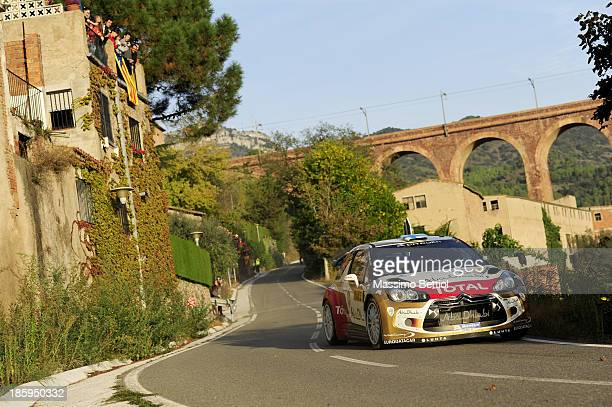 Mikko Hirvonen of Finland and Jarmo Lehtinen of Finland compete in their Citroen Total Abu Dhabi WRT Citroen DS3 WRC during Day Two of the WRC Spain...