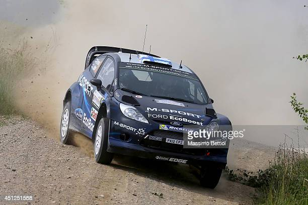 Mikko Hirvonen of Finland and Jarmo Lehtinen of Finland compete in their MSport WRT Ford Fiesta RS WRC during the Shakedown of the WRC Poland on June...