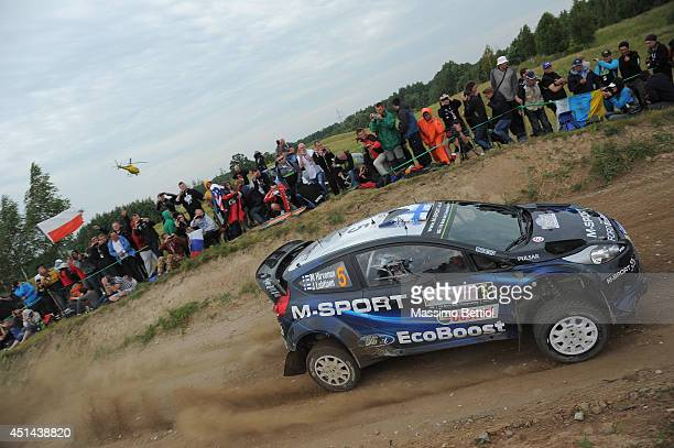 Mikko Hirvonen of Finland and Jarmo Lehtinen of Finland compete in their MSport WRT Ford Fiesta RS WRC during Day Three of the WRC Finland on June 29...