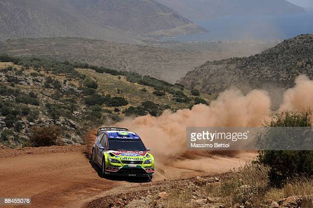 Mikko Hirvonen of Finland and Jarmo Lehtinen of Finland in action in the BP Abu Dhabi Ford Focus during Leg 1 of the WRC Acropolis Rally of Greece on...