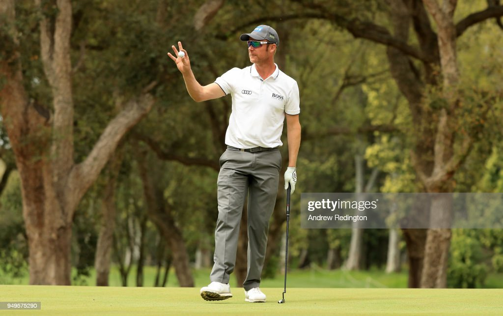Mikko Ilonen of Finland celebrates his birdie on the 18th hole during the third round of the Trophee Hassan II at Royal Golf Dar Es Salam on April 21, 2018 in Rabat, Morocco.