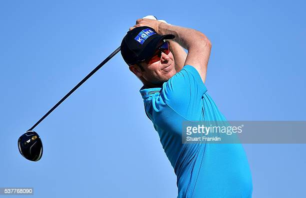 Mikko Ilonen of Finland hits a shot on the 12th hole during the second round on day two of the Nordea Masters at Bro Hof Slott Golf Club on June 3,...