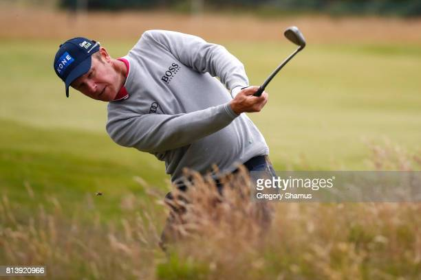Mikko Ilonen of Finland hits an approach shot on the 8th hole during day one of the AAM Scottish Open at Dundonald Links Golf Course on July 13 2017...