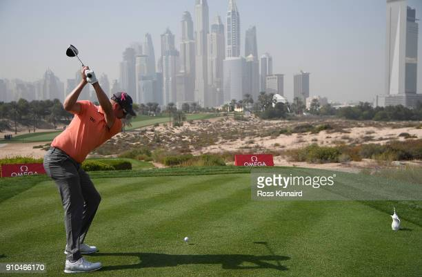 Mikko Ilonen of Finland hits his tee shot on the 8th hole during round two of the Omega Dubai Desert Classic at Emirates Golf Club on January 26 2018...