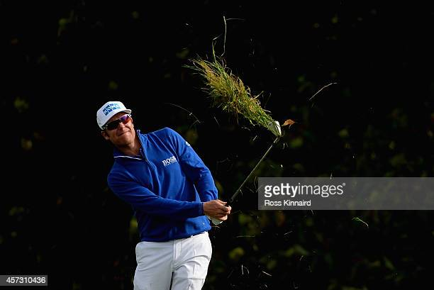 Mikko Ilonen of Finland in action during the first round matches of the Volvo World Match Play Championship at The London Club on October 16 2014 in...
