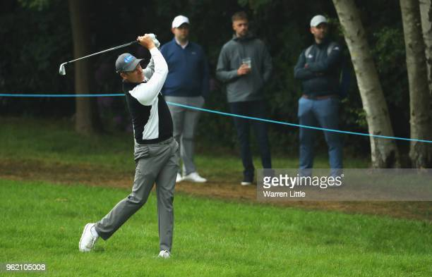 Mikko Ilonen of Finland plays his second shot on the 4th hole during day one of the BMW PGA Championship at Wentworth on May 24 2018 in Virginia...