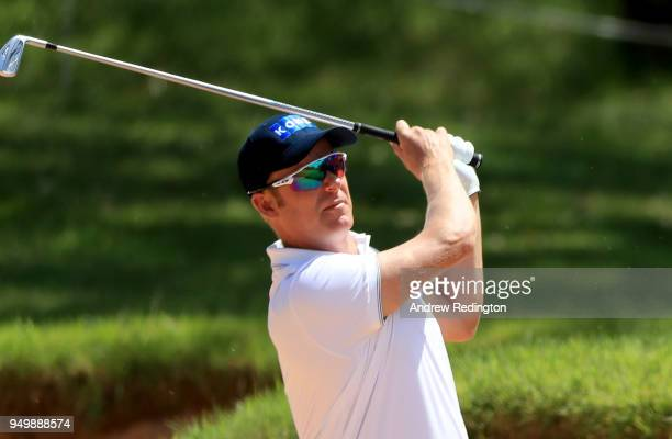 Mikko Ilonen of Finland plays his second shot on the first hole during the final round of the Trophee Hassan II at Royal Golf Dar Es Salam on April...
