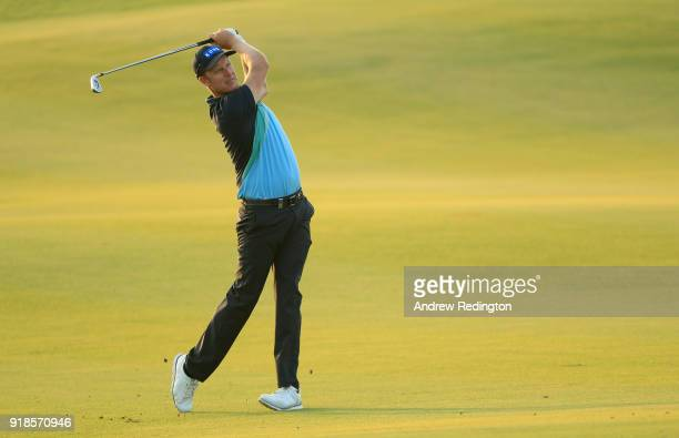 Mikko Ilonen of Finland plays his second shot on the par four 9th hole during the first round of the NBO Oman Open at Al Mouj Golf on February 15...