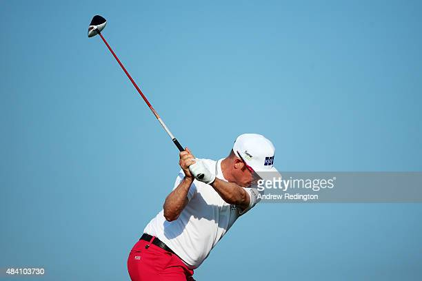 Mikko Ilonen of Finland plays his shot from the ninth tee during the continuation of the weatherdelayed second round of the 2015 PGA Championship at...