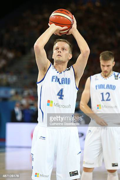 Mikko Koivisto of Finland is at the free throw line during the EuroBasket Group Phase game between Finland v Israel at Park and Suites Arena on...