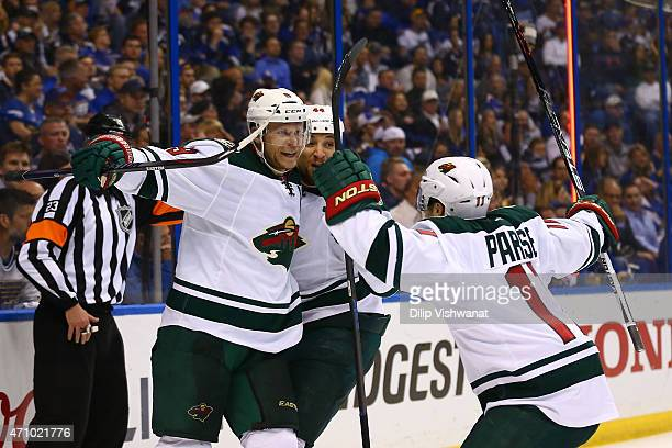 Mikko Koivu Chris Stewart and Zach Parise of the Minnesota Wild celebrate Koivu's goal against the St Louis Blues in Game Five of the Western...