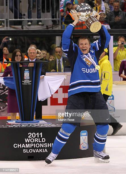 Mikko Koivu of Finland lifts the trophy after the IIHF World Championship gold medal match between Sweden and Finland at Orange Arena on May 15, 2011...