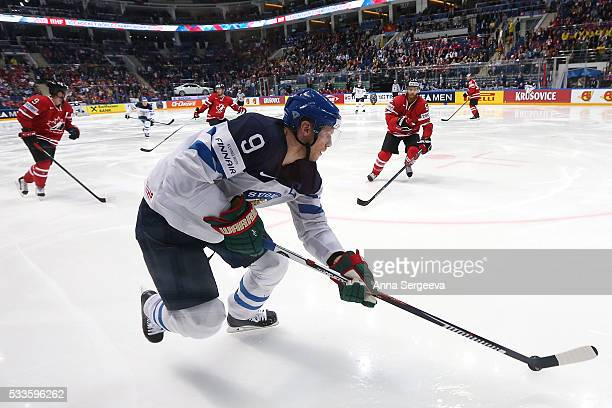 Mikko Koivu of Finland plays the puck against Ryan Ellis of Canada during the 2016 IIHF World Championship gold medal game at the Ice Palace on May...