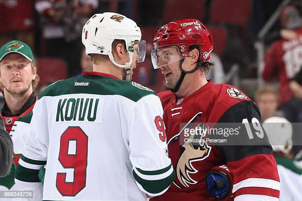Mikko Koivu of the Minnesota Wild and Shane Doan of the Arizona Coyotes shake hands following the NHL game at Gila River Arena on April 8 2017 in...