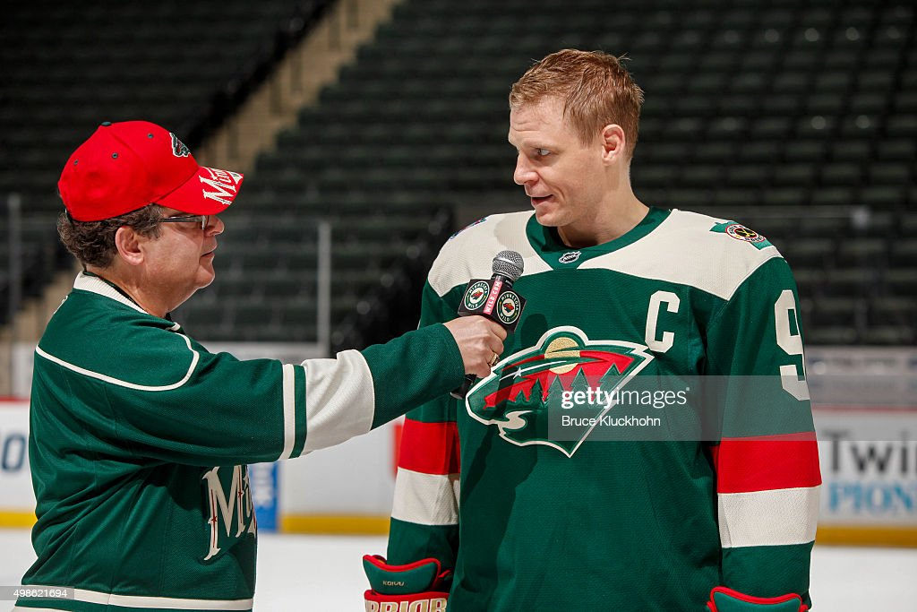 Minnesota wild unveil stadium series jerseys photos and images mikko koivu 9 of the minnesota wild answers questions of emcee jim cunningham at a mozeypictures