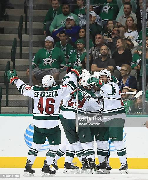 Mikko Koivu of the Minnesota Wild celebrates a goal against the Dallas Stars in the third period in Game Five of the Western Conference First Round...