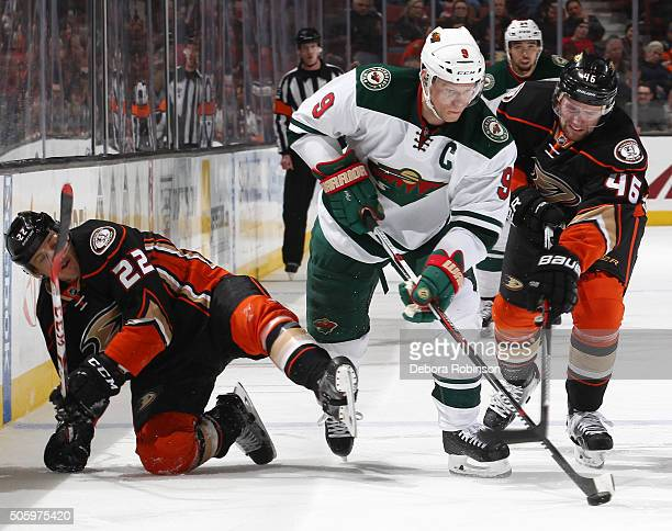 Mikko Koivu of the Minnesota Wild handles the puck against Jiri Sekac and Shawn Horcoff of the Anaheim Ducks on January 20 2016 at Honda Center in...