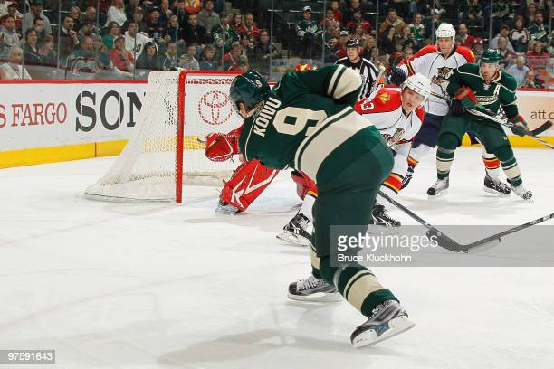 Mikko Koivu of the Minnesota Wild scores a goal against the Florida Panthers during the game at the Xcel Energy Center on March 9 2010 in Saint Paul...