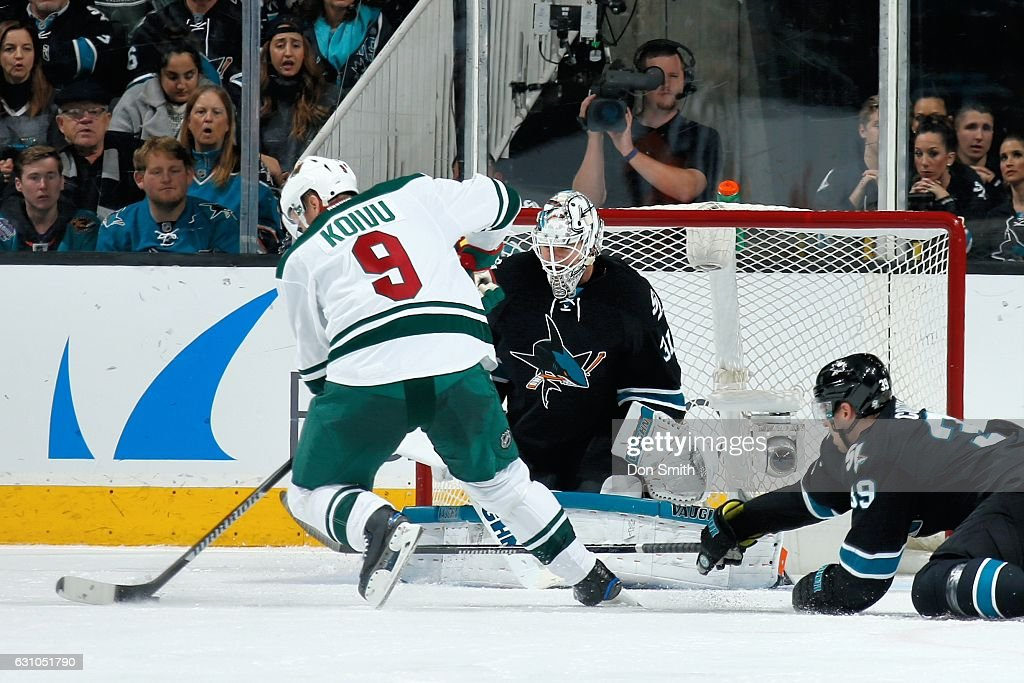 Mikko Koivu #9 of the Minnesota Wild scores a third period goal during a NHL game against the San Jose Sharks at SAP Center at San Jose on January 5, 2017 in San Jose, California.