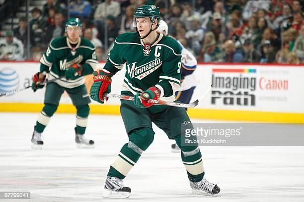 Mikko Koivu of the Minnesota Wild skates against the St Louis Blues during the game at the Xcel Energy Center on March 14 2010 in Saint Paul Minnesota