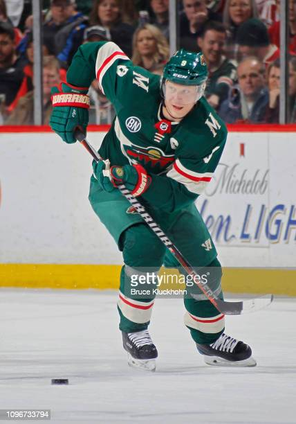 Mikko Koivu of the Minnesota Wild skates with the puck during a game with the Detroit Red Wings at Xcel Energy Center on January 12 2019 in St Paul...